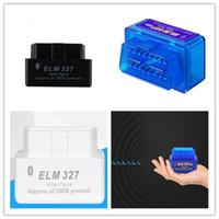 pc elm327 obd2 al por mayor-Super Mini ELM327 Bluetooth OBD2 V2.1 Soporte Smartphone y PC Mini ELM 327 BT OBD II Escáner