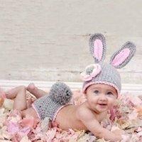ingrosso abbigliamento per bambini-Neonate coniglio Outfits maglia appena nati che coprono le puntelli foto cappello animale Crochet For Girls