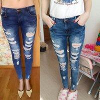 bayan denim yıkanmış pantolon toptan satış-Bayanlar Ünlü Stil Moda Mavi Low Rise Skinny Sıkıntılı Yıkanmış Bayanlar için Streç Denim Jeans Kalem Pantolon Yırtık