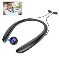 bluetooth kulaklık kamera toptan satış-V9 Kablosuz Bluetooth Kulaklık Ile Kamera kayıt Spor Kulaklıklar Stereo Kulakiçi Gürültü Iptal Kulaklıklar için Mikrofon ile iphone