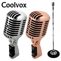 Wholesale ktv quality mic resale online - Professional Wired Vintage Classic Microphone Good Quality Dynamic Moving Coil Mike Deluxe Metal Vocal Old Style Ktv Mic Z6 mike