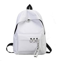 Wholesale bookbags women - Travel Backpack Fashion Ring Bookbags Satchel Womens Backpack Grey Black White Solid Canvas Escolar College