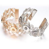 Wholesale one direction rhinestone bracelets resale online - NOOSA Snap Button Chunks Bracelet MM Snap Bangles Gold Silver Adjustable Elastic Snap Bracelet Watches One Direction