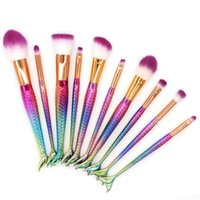 Wholesale powder metals - NEW 10pcs set Glitter Mermaid Fish Tail Makeup Brush Fishtail Shaped Foundation Powder Eye Shadow Concealer Rainbow Blending Make-up Brushes