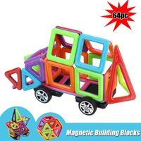 Wholesale educational toys for toddlers - 64Pcs Kids Magnetic Building Blocks Colorful Construction Educational Toys Gift ducational 3D Tiles Set Toy for Toddler Kids FFA183