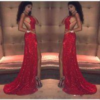 ingrosso ragazza rossa rosa rossa-Sexy rosso paillettes Prom Dresses lungo 2018 sirena coscia-alta fessure senza spalline backless nero africano ragazza celebrità abiti da sera