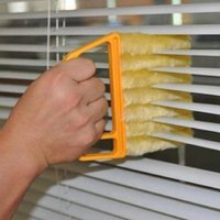 ingrosso tende per il ventilatore-Mini mano tenuto in microfibra veneziana pennello finestra aria condizionata spolverino detergente sporco strumento di lavoro domestico con 7 stecche tenuto in mano per auto fan O