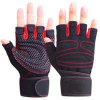 fingerless handschuh handgelenk winter großhandel-Heiße Männer Frauen Half Finger Fitness Handschuhe Gewichtheben Handschuhe Schützen Handgelenk Gym Training Fingerless Gewichtheben Sport Handschuhe