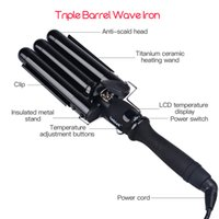 Wholesale three barrel curler resale online - ersonal Care Appliances Curling Irons MM Curlers Three Pipe Joint Ceramic Triple Barrels Curling Iron LCD Electric Hair Curly Big Ha