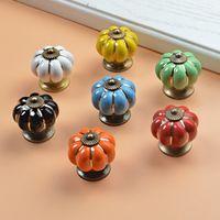 Wholesale ceramic dresser drawer knobs - 10pcs 40mm Ceramic pumpkins Cabinet Knobs Furniture Handles Dresser Drawer Handles Door Knob Screw Home Decorating Cane Toppers