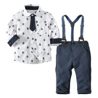 c9a98caaa Conjuntos de niños 2018 Bebés y niños 3 unidades Conjuntos de algodón de  dibujos animados ancla camisa de manga larga + pantalones de rayas azules  niños ...
