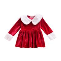 красные меховые девушки оптовых-INS новорожденных девочек Рождество красное золото бархат платье осень новая девушка юбка меховой воротник с длинным рукавом плиссированные платье H171