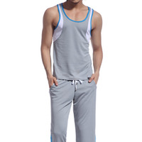 майка длинная оптовых-Retail Men Mesh wear sets ( tank top + long pants) sleep Wear suits clothes 8 Colors Available Size S M L XL