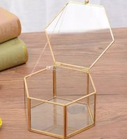 Wholesale metal planter boxes for sale - Geometrical Clear Glass Jewelry Box Gold Storage Boxes for Jewelry Organize Holder Tabletop Succulent Plants Planter