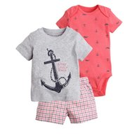 Wholesale baby boys summer clothing online - Baby Boys Archor Clothing Sets T Shirt Rompers Tops Pants Year Boutique Kids Clothes Short Sleeve Outfits B11