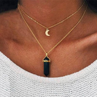 collar pendiente de piedra de moda al por mayor-Natural Opal Stone Moon Choker Collar para Las Mujeres de Doble Capa de Cristal Collares pendientes de Color Oro Joyería de Moda