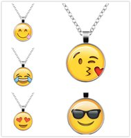 Wholesale hot cute cartoon - Hot cute Emoji expression necklace creative cartoon facial expression pendant for kids students street fashion trendy necklace chains gift