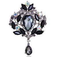 large crystal flower brooch 2018 - Large Silver-Tone Flower Ribbon Teardrop Multicolor Crystal Pendant Brooch Black Crystal