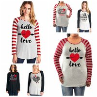Wholesale Valentine T Shirts - Letter Print Long Sleeve Splicing Striped T-Shirts Autumn Xmas Valentines Blouse Tops O Neck Loose Pullover Tees Shirts 6 Styles OOA4041