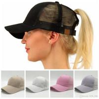 Wholesale Girls Snapbacks Hats - Female Ponytail Caps New Style Girl Baseball Hats Back Hole Ponytail Hot Women Mesh Cap DDA59