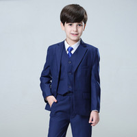Wholesale tuxedo boy for wedding resale online - 2018 Navy Blue Wedding Suits for Toddler Boys Notched Lapel Blazers Groom Tuxedos Bridegroom Prom Pieces Jacket Pants Vest Party