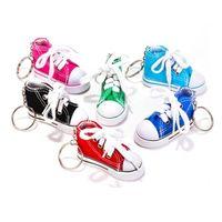 Wholesale shoes key chain ring - Wholesale 7 Color 3D Sneaker Keychain Novelty Canvas Shoes Key Ring Shoes Key Chain Holder Handbag Pendant