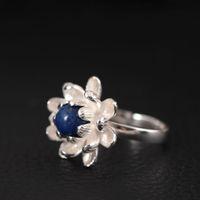 jóias de ouro china direta venda por atacado-Designer de moda 925 anel de prata esterlina ouro bonito flor lótus lapis lazuli senhor anéis natural pérola jóias china atacado direto