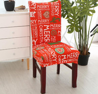 ziyafet sandalye örtüsü süsleri toptan satış-Noel Elastik Sandalye Kapakları Spandex Sandalye Kapak Streç Elastik Yemek Koltuk Örtüsü Ziyafet Noel Dekorasyon için