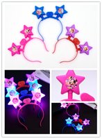 ingrosso fasce di concerto-Hot Five Star Hairband Party Rave Toys Illuminare la fascia del diavolo Hairpin For AdultsKids Halloween Xmas Easter Concert