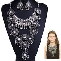uzun gümüş kostüm takı toptan satış-Boho Bildirimi Kolye Moda Uzun Gümüş Kadınlar için Bohemian Hint Takı Okside Büyük Etnik Kostüm Takı 2 Renkler 1 Adet
