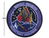 Wholesale projects sewing - New Special Projects Flight Test Squadron 3D Embroidery Badge Clothing Backpack Bag Cap Sewing Applique Stimulate Morale Armlet Armband