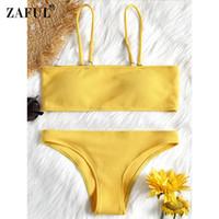 brasilianischer bikini xs großhandel-Großhandel Sexy Brazilian Bikini Set Bademode Frauen Badeanzug Bandeau Ribbed Bikini Set Badeanzug Sommer Beacher Biquni