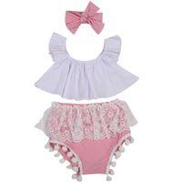 девушки оборка наборы наборы оптовых-Summer Newborn Baby Girls Outfits Clothes Sets Ruffle Tops Vest Short Sleeve Lace Shorts Headbands 3PCS Set Clothing