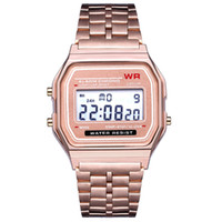 dijital kadın altın izle toptan satış-Gül Altın Marka İzle F-91W LED saatler Moda Ultra-ince dijital LED Bilek Saatler F91W Erkek Kadın Spor İzle