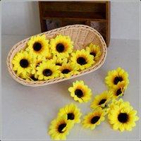 ingrosso fiori a mano calda-Vendita calda FAI DA TE simulazione di simulazione Girasole fatto a mano Girasole a forma di fiore testa famiglia fiore decorare T3I0320
