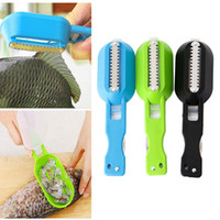 Wholesale stainless steel fishing knives - Practical Stainless Steel Fish Skin Cleaner Scales Remover Scale Knife Cutter Fast Home Kitchen Clean Tools NNA335