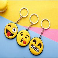 Wholesale Face Glue - Emoji Keychain Emoticon Face Keyring Lovely Women Pvc Pendant Gift Flexible Glue Ornament Creative Key Buckle DDA22