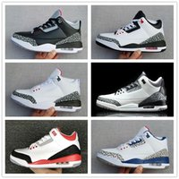 Wholesale Classic Fire - Classic Air 3 Mens Basketball Shoes Black Cement White Infrared Cyber Monday Fire Red Wolf Grey Retro Sport Sneakers Athletics Trainers Shoe