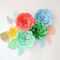 Wholesale kids backdrops for sale - Group buy 8pcs Pack DIY Paper Turtle Leaf Palm Leaves Backdrop Decor Kids Birthday Party Wedding Party Home Room Decor Supplies CCA9771 set