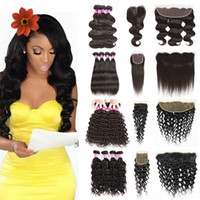 Wholesale deep wave virgin closure piece online - Water Wave Deep Wave Cheap Brazilian Kinky Curly Human Hair Bundles with Frontal Straight Body Wave Bundles with Closure frontal lace hair