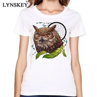eule kleidet frauen großhandel-Frauen T-Shirt Crazy Tops Tees Frauen Baumwolle T-Shirt Sommer / Herbst Kurzarm O-Ausschnitt Cartoon Animal Print Kleidung Indian Screech Owl