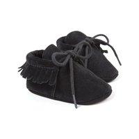 mocasín bebé niño zapato negro al por mayor-nobuck negro niños bebés zapatillas de deporte zapatos mocasines de bebés moccs calientes superestrella zapatos recién nacidos infantil niños zapatos. 0 ~ 18 meses bx300