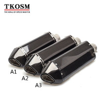 Wholesale carbon cbr - TKOSM 51mm Real Carbon Fiber Motorcycle Exhaust Pipe Motocross Muffler With DB Killer CB400 CBR For Kawasaki Z800 Z750 ER6R