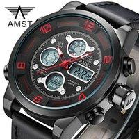 amst relojes al por mayor-AMST Reloj de pulsera digital LED Sport Relojes para hombre Correa de cuero impermeable Reloj a prueba de golpes Army Watch relogio masculino