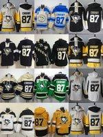 Wholesale Kids Black Hoodies - Cheap Mens Womens Kids Pittsburgh Penguins 87 Sidney Crosby Beige Black White Yellow Green Best Quality Embroidery Logos Ice Hockey Hoodies
