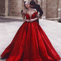 Wholesale vintage style art - 2018 Said Mhamad Red Off The Shoulder Evening Dresses Stain A Line Sweep Train Dubai Arabic Style Formal Prom Dresses