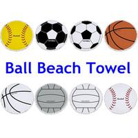 Wholesale Large Beach Mats Wholesale - Football Large Beach Towels Balls Print Microfiber Round Tassel Summer Swimming Towel Beach Mat Carpet OOA4374
