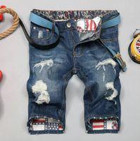 Wholesale Denim Shorts 38 - Summer Straight Hole Ripped Mens Denim Jeans Shorts Men Fashion Casual Blue Short Pants Size 28-38