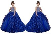 geschwollene blaue kinder kleiden sich großhandel-Neue Heiße Königsblau Mädchen Pageant Kleider Organza Rüschen Kristall Perlen Sleeveless Prinzessin Puffy Kids Party Für Hochzeit Blumenmädchenkleider