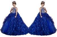 Wholesale organza flowers for dresses resale online - New Hot Royal Blue Girls Pageant Dresses Organza Ruffle Crystal Beads Sleeveless Princess Puffy Kids Party For Wedding Flower Girl Dresses